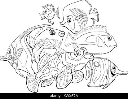 sea life animals group coloring page stock vector art illustration vector image 81321400 alamy. Black Bedroom Furniture Sets. Home Design Ideas