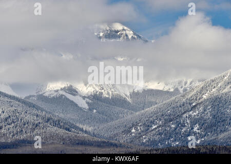 Winter in the Canadian rocky mountains with snow and cold weather near Brule Alberta Canada. - Stock Photo