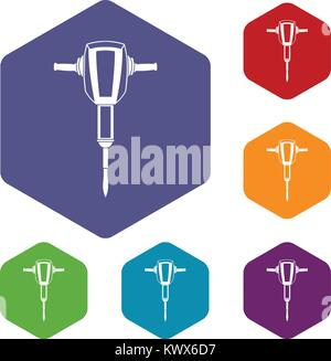 Pneumatic plugger hammer icons set rhombus in different colors isolated on white background - Stock Photo