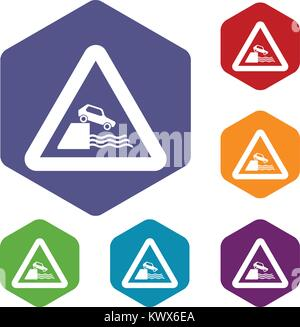Riverbank traffic sign icons set rhombus in different colors isolated on white background - Stock Photo