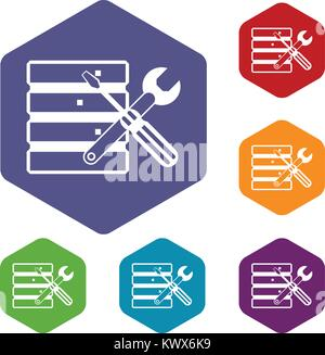 Database with screwdriverl and spanner icons set rhombus in different colors isolated on white background - Stock Photo