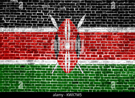 Flag of  Kenya painted on brick wall, background texture - Stock Photo
