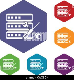 Database with screwdriver and spanner icons set rhombus in different colors isolated on white background - Stock Photo