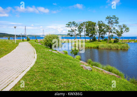 Russky island landscape. Russky Island is an island off Vladivostok in Primorsky Krai, Russia in the Peter the Great - Stock Photo