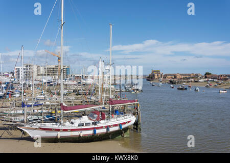 Boats moored on River Adur, Shoreham-by-Sea, West Sussex, England, United Kingdom - Stock Photo
