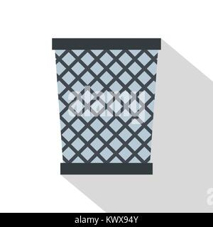 Wire metal bin icon, flat style - Stock Photo