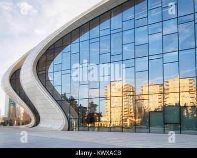 BAKU, AZERBAIJAN-DECEMBER 28, 2017: Heydar Aliyev Center - building complex in Baku, Azerbaijan designed by Iraqi - Stock Photo