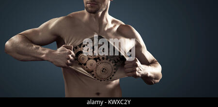 Human robot pulling his thick chest skin away - Stock Photo