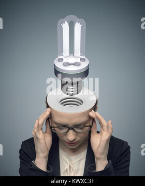Conceptual picture of thinking businessman - Stock Photo