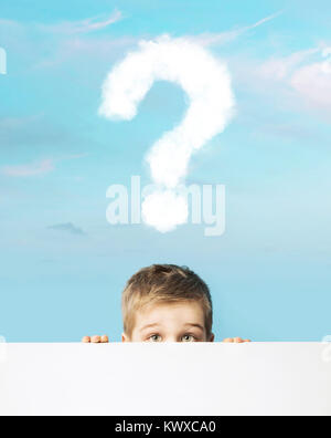 Little man with a question mark above head - Stock Photo