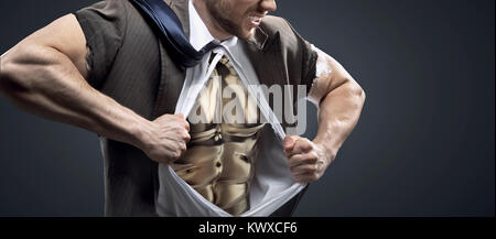 Conceptual picture of a man with glossy golden chest - Stock Photo