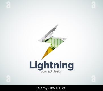 Thunder Lighting Bolt Yellow Flash Icon Design Lightning Logo Template Abstract Geometric Glossy Business