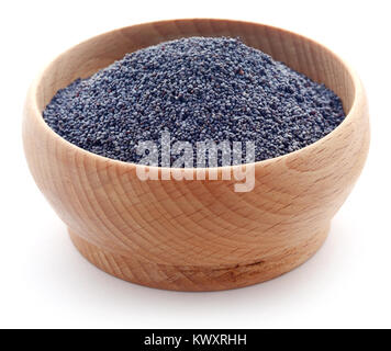 Poppy seeds in a bowl over white background - Stock Photo