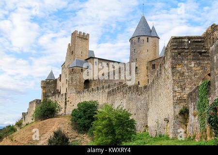 Exterior view of the medieval walled town of Carcassonne, Aude, Occitanie, France - Stock Photo