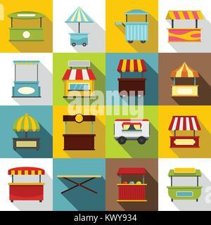 Street food truck icons set, flat style - Stock Photo