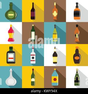 Bottle forms icons set, flat style - Stock Photo