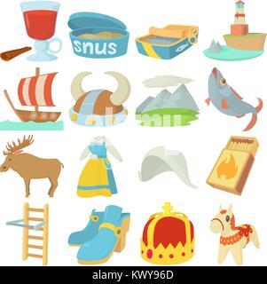 Sweden travel symbols icons set, cartoon style - Stock Photo