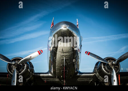 The stunning Douglas DC3 operated by Dakota Norway, seen on display at Goodwood Revival - Stock Photo
