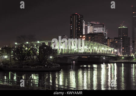 Eitai-bashi Bridge near the Monzen-nakacho area crossing the Sumida River in Tokyo, Japan at night. - Stock Photo