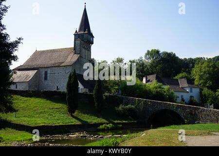 ORDIARP, FRANCE - CIRCA JULY 2015 Church and bridge - Stock Photo