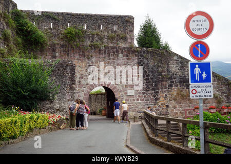 ST JEAN PIED DE PORT, FRANCE - CIRCA JULY 2015 Entrance of OLd town - Stock Photo