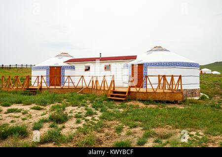 Traditional mongolian yurt in the center of Ulaanbaatar, Mongolia - Stock Photo