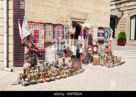 Souvenir market in the Old City in Baku, Azerbaijan. Inner City is the historical core of Baku and UNESCO World - Stock Photo