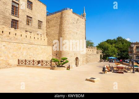 The Quadrangular Tower in the Old City Icheri Sheher in Baku, Azerbaijan - Stock Photo