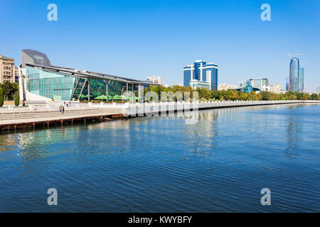 Baky skyline view from Baku boulevard (the Caspian Sea embankment). Baku is the capital and largest city of Azerbaijan - Stock Photo