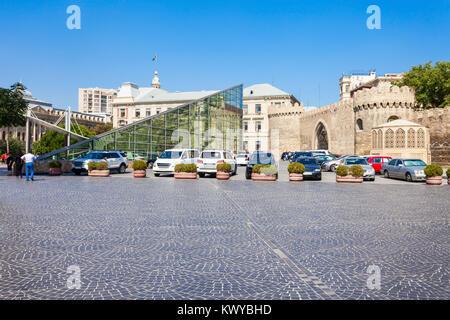 Baku Icheri Sheher metro station building and Old City in Baku, Azerbaijan - Stock Photo