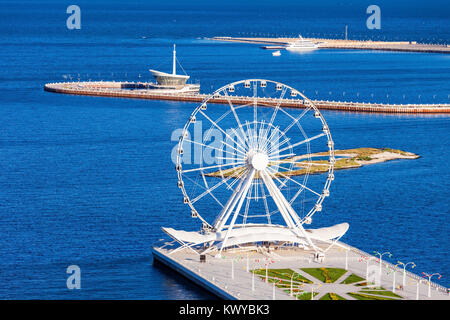Baku Ferris Wheel also known as the Baku Eye is a Ferris wheel on Baku Boulevard in the Seaside National Park of - Stock Photo