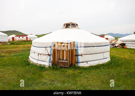 Traditional mongolian yurt in the center of Ulaanbaatar, Mongolia - Stock Photo