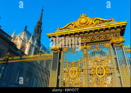 Palais de Justice Paris, view of the richly gilded gates of the Palais de Justice, the supreme court of law in Paris, - Stock Photo