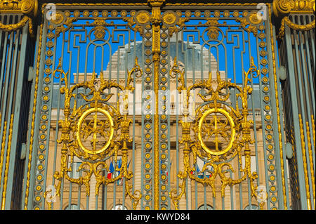 France architecture detail, close-up view of the richly gilded gates of the Palais de Justice, the supreme court - Stock Photo