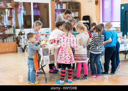 Kiev, Ukraine. November 13 2017. Junior high school students and a teacher entertain - Stock Photo