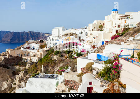 Oia or Ia is a small town in the South Aegean on the islands of Santorini in the Cyclades, Greece - Stock Photo