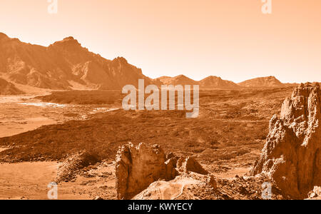 Lifeless martian landscape in highland in Tenerife, The Canaries - Stock Photo