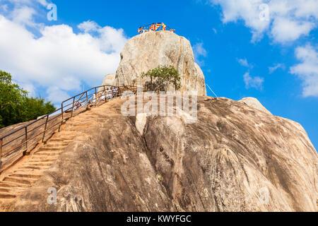 Mihintale Aradhana Gala or Meditation Rock at the Mihintale ancient city near Anuradhapura, Sri Lanka - Stock Photo