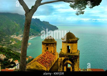 View of the Amalfi Coast from Villa Rufolo, Ravello - Stock Photo