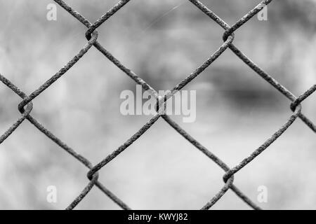 Beautiful netting mesh pattern on a blurred background. Rust. - Stock Photo