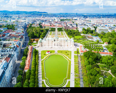 Belvedere Palace aerial panoramic view. Belvedere Palace is a historic building complex in Vienna, Austria. Belvedere - Stock Photo