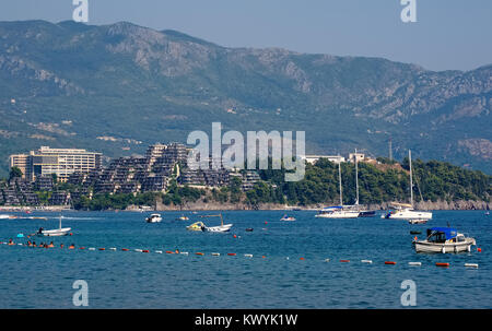 Montenegro, Budva, View of the complex of VIP apartments Dukley Gardens on the Adriatic coast - Stock Photo