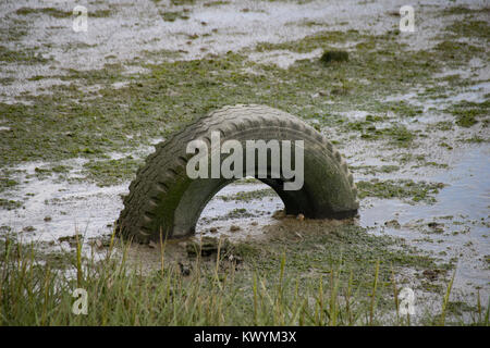 Discarded car tyre abandoned in estuary mud at low tide - Stock Photo