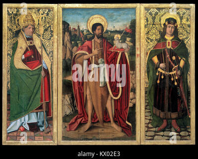 Miguel Ximénez - Saint John the Baptist, Saint Fabian and Saint Sebastian - Google Art Project - Stock Photo