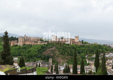 Alhambra in Granada, Andalusia, Spain. View of the total complex. - Stock Photo