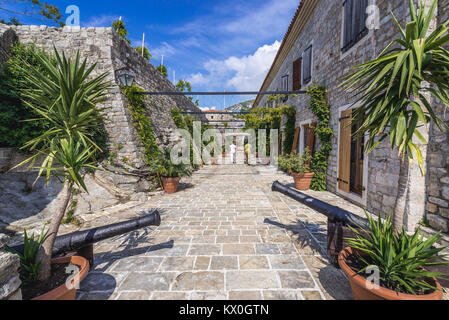 Inside the citadel on the Old Town of Budva city on the Adriatic Sea coast in Montenegro - Stock Photo
