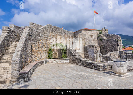 Citadel on the Old Town of Budva city on the Adriatic Sea coast in Montenegro - Stock Photo