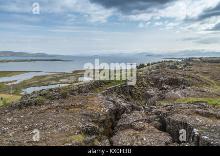 Rift Valley at Þingvellir, Thingvellir a historic site and National Park in Iceland where the continental drift - Stock Photo