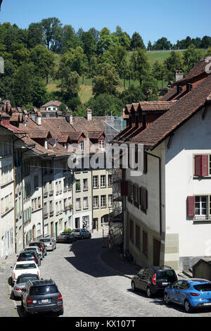 BERN, SWITZERLAND - CIRCA AUGUST 2015 Street  in Lower town - Stock Photo