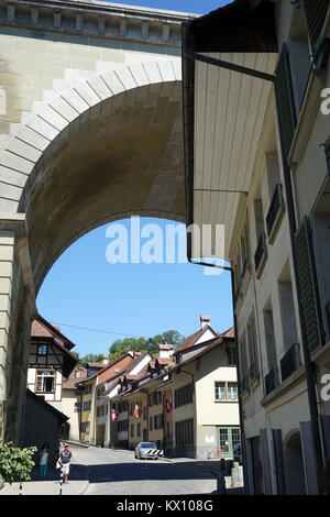 BERN, SWITZERLAND - CIRCA AUGUST 2015 Bridge and street  in Lower town - Stock Photo